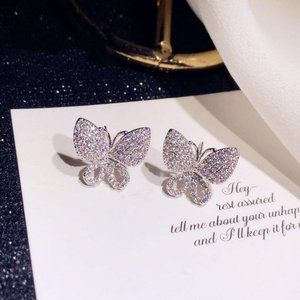 *NEW 18K White Gold Diamond Butterfly Earrings